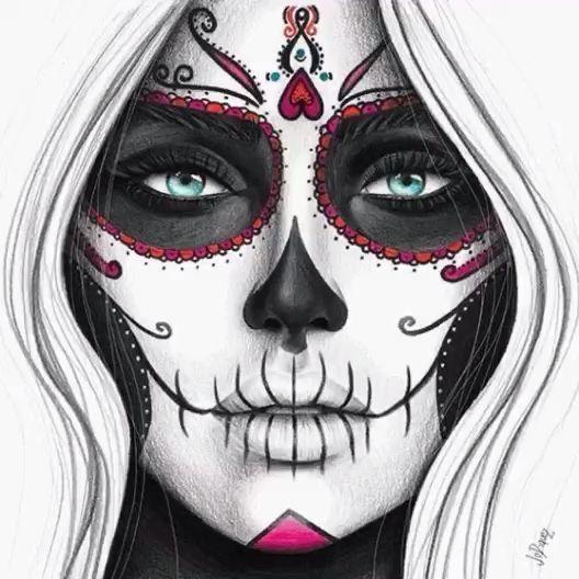 Skull Makeup Videos Halloween Makeup Halloween Makeup Skull Videos Arte De Calavera De Alfenique Catrinas Dibujo Tatuaje De Muerte