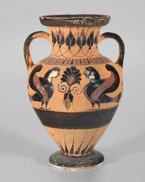 Chalcidian neck-amphora with two sirens flanking a palmetted lotus-bud. Greek. Archaic Period, c. 520–510 B.C. | Museum of Fine Arts, Boston