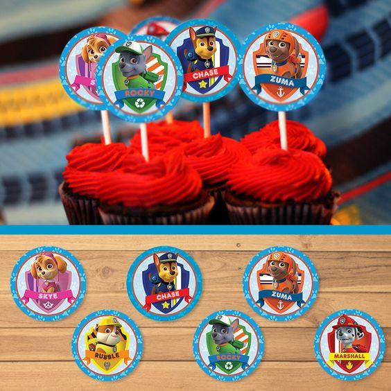 Free Printable Paw Patrol Cupcake Toppers | Paw Patrol Stickers | Dark Paw Theme ~ Free Paw Patrol Printables