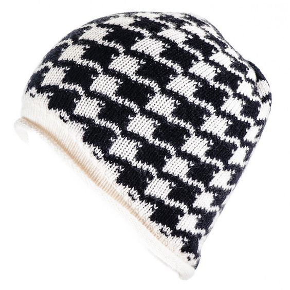 Black Black and Ivory Houndstooth Cashmere Beanie ($79) ❤ liked on Polyvore featuring men's fashion, men's accessories, men's hats, black mens hats, mens cashmere hat, mens beanie hats and mens cashmere beanie hat