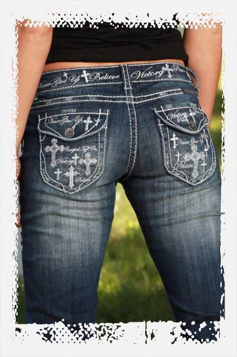 Cowgirl Tuff Jeans  (Women's Pre-owned VIctory Cross Denim Jean Pants)