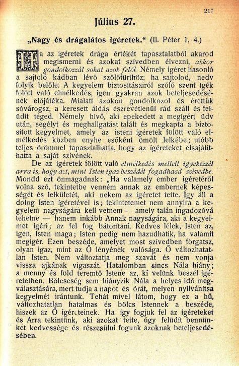 Spurgeon, Harmatgyöngyöngyök 07.27