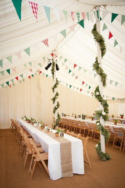 marquee wedding, summer fete wedding theme, wedding bunting, vintage country wedding