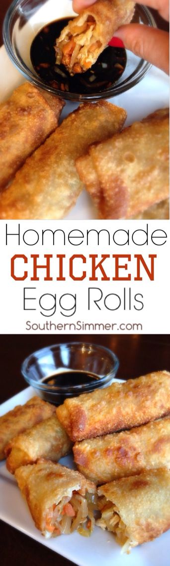 Crispy egg rolls stuffed with chicken and seasoned vegetables