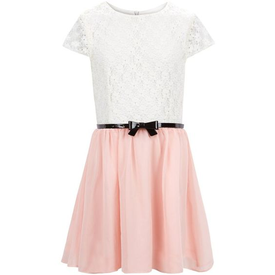 New Look Girls Pink Lace 2 in 1 Belted Dress ($26) ❤ liked on Polyvore featuring dresses, pink, pink lace dress, belted dress, pink dress, pink short sleeve dress and night out dresses