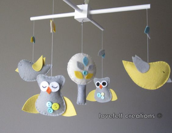 Baby Crib Mobile   Baby Mobile  Owl Mobile  Yellow by LoveFeltXoXo, $89.00