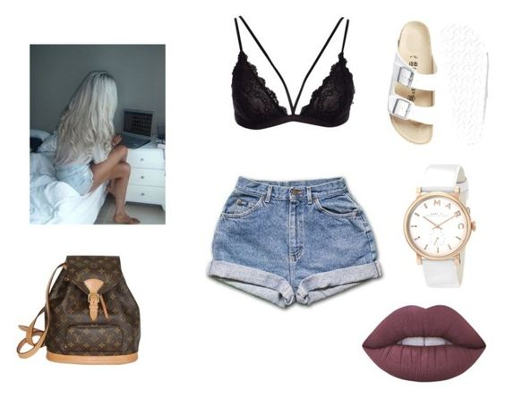 """""""Festival"""" by allgoodbabybaby on Polyvore featuring Louis Vuitton, Birkenstock, Lime Crime and Marc by Marc Jacobs"""