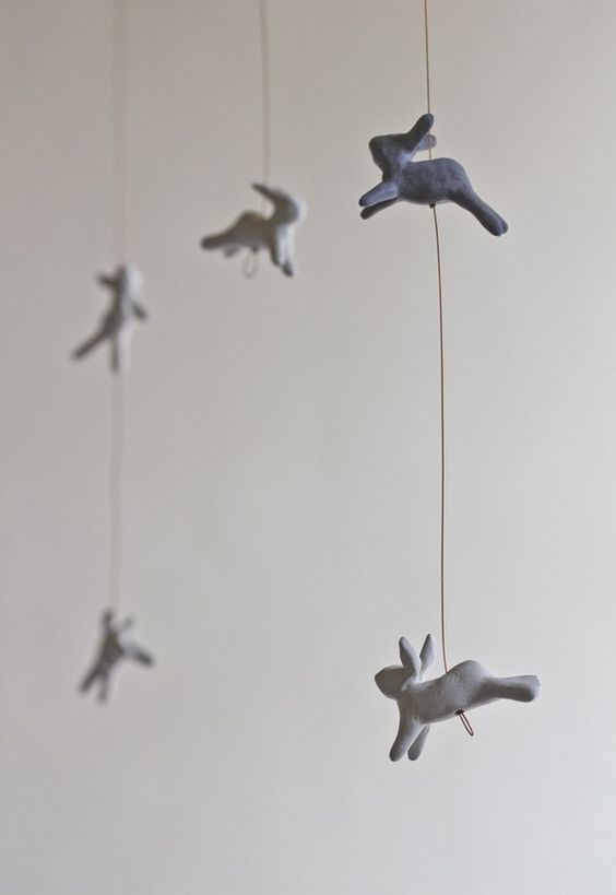 Leaping Rabbits Mobile Art mobile baby mobile nursery by POAST
