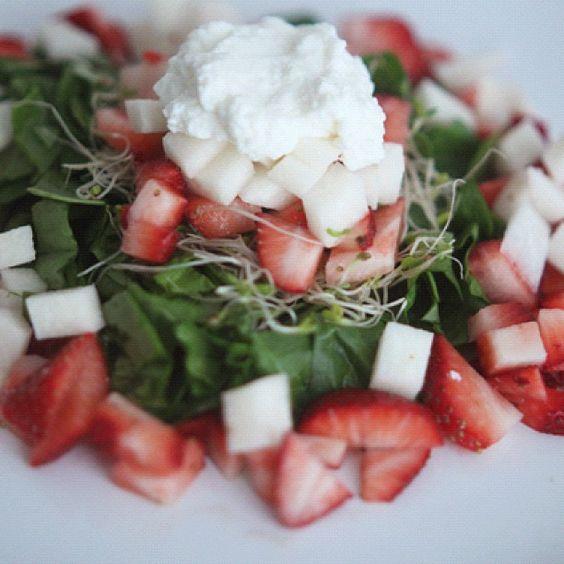 Salad - Spinach, Strawberry, Sprout, Jicama & Goat Cheese - @xo_dominichulinda- #webstagram