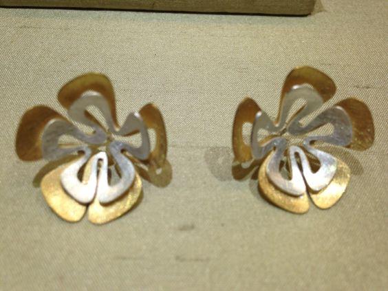 Pendientes dobles de flor calada de plata y plata dorada - Pepa ...