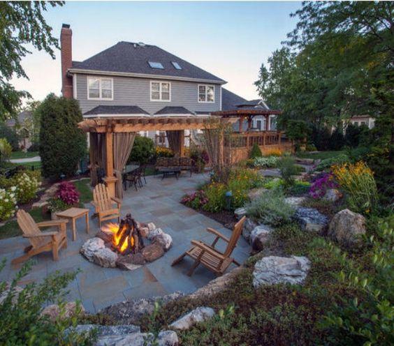 Backyard pergola, Pergolas and Fire pits on Pinterest on Pergola Fire Pit Ideas id=64418