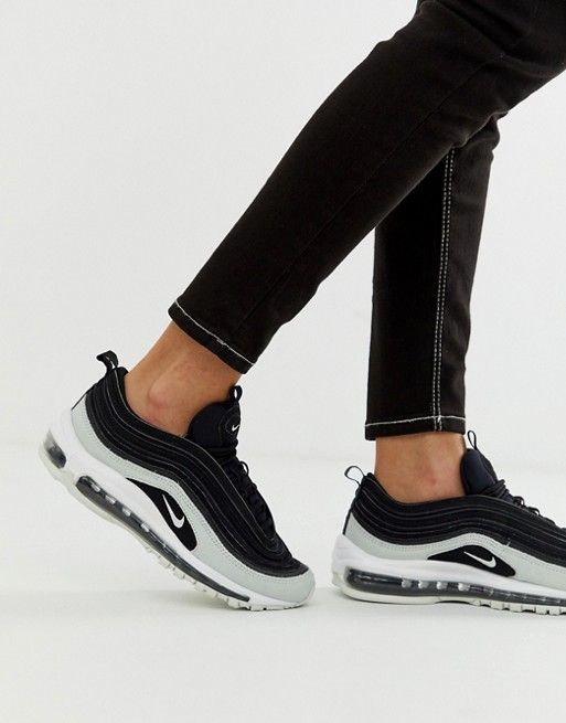 Nike Air Max 97 Premium trainers in black cracked leather