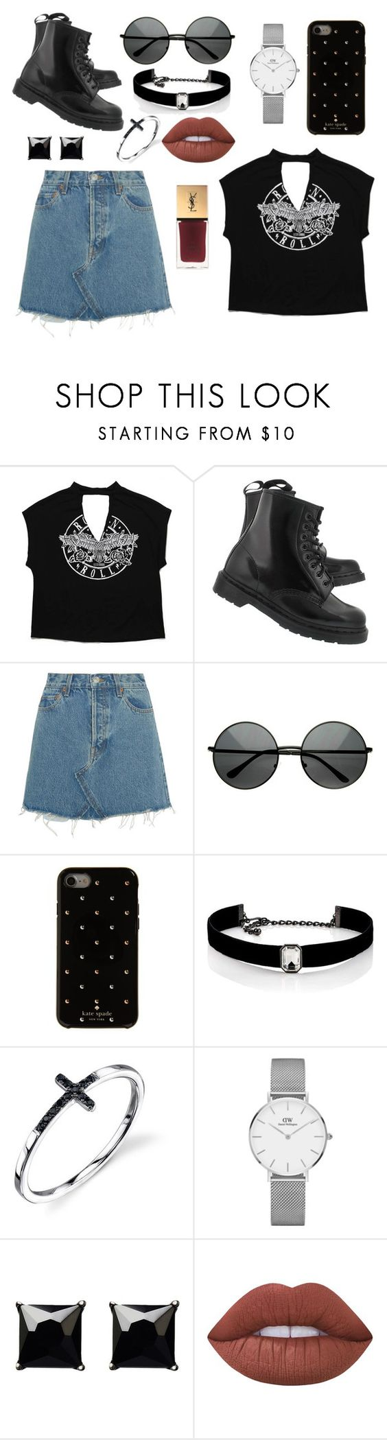 """Untitled #6"" by soninha97 on Polyvore featuring Dr. Martens, RE/DONE, Kate Spade, Kenneth Jay Lane, Daniel Wellington, Witchery, Lime Crime and Yves Saint Laurent"