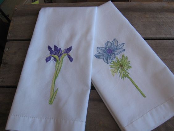 Table Linens Napkins Tea Towels Set of 2  Flower by MyVintageTable, $10.00