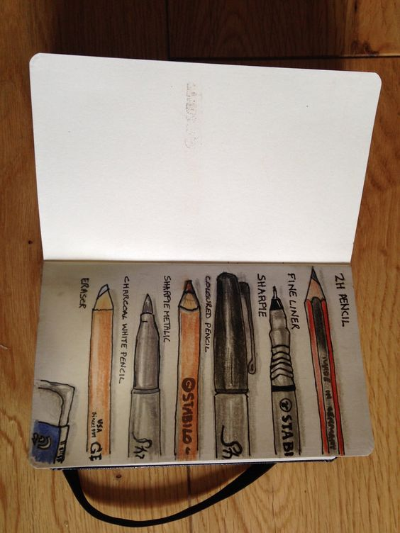Moleskine Sketch of Drawing implements by Davidcoxon from photos on Flickr.