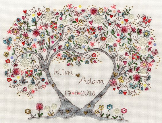 A colourful cartoon wedding or engagement sampler of two tree trunks coming together in a heart shape.