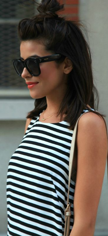 These black and white stripes are the best for summer days! Via Sazan Barzani  Dress: H&M, Shoes: Target