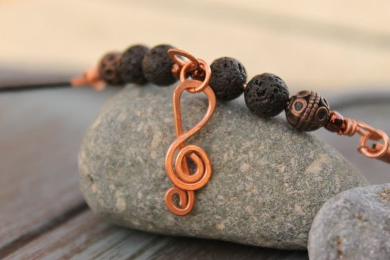 Men's Necklace, Music Necklace, Copper Wire Wrapped Necklace, Lava Rock Necklace, Handcrafted, Lava Rock Beads, G Clef Charm by SusansLifeOnAWire on Etsy