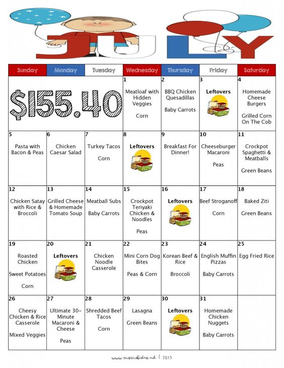 A Month Of Meals On A Budget July 2015 Meal Plan 31 Days Of No Repeat Ki