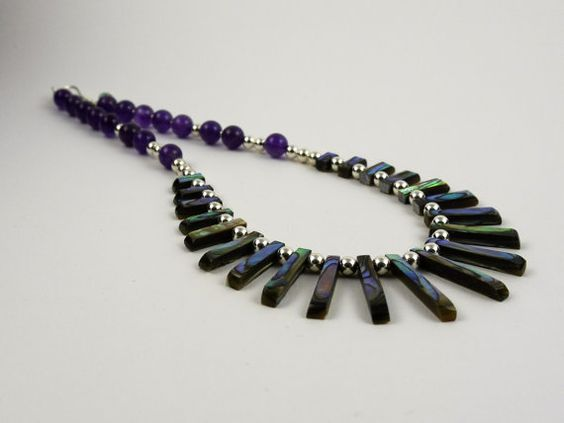 Amethyst, Abalone and sterling silver neckline necklace. 16 inch / 41 cm purple…