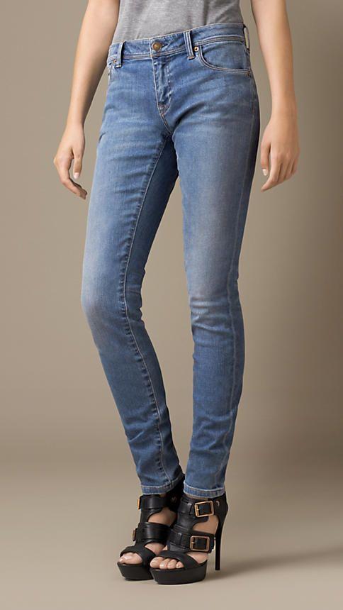 Indigo moyen Jean taille basse de coupe skinny délavé vintage - Image 1