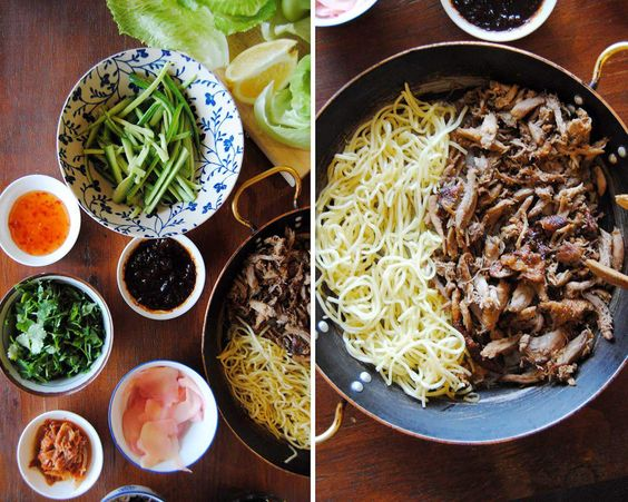 Korean Lettuce wraps with duck and noodles - Recipe Rooster and Rabbit
