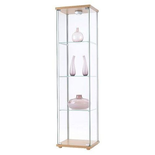 Ikea detolf glass curio display cabinet light brown by for Glass cabinet with lights