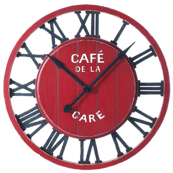 Horloge trains and cuisine on pinterest for Horloge murale cuisine rouge