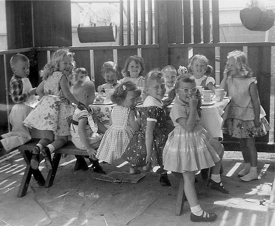 Do you remember how we wore dresses to Birthday Partys? 1957 | Flickr: