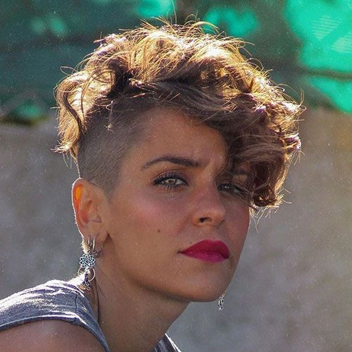 63 Cute Hairstyles For Short Curly Hair Women 2020 Guide Short Curly Hair Shaved Side Hairstyles Thick Hair Pixie