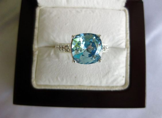Fine Silver Plated Blue Crystal Ring with Swarovski Elements Come in Pouch #Swarovski