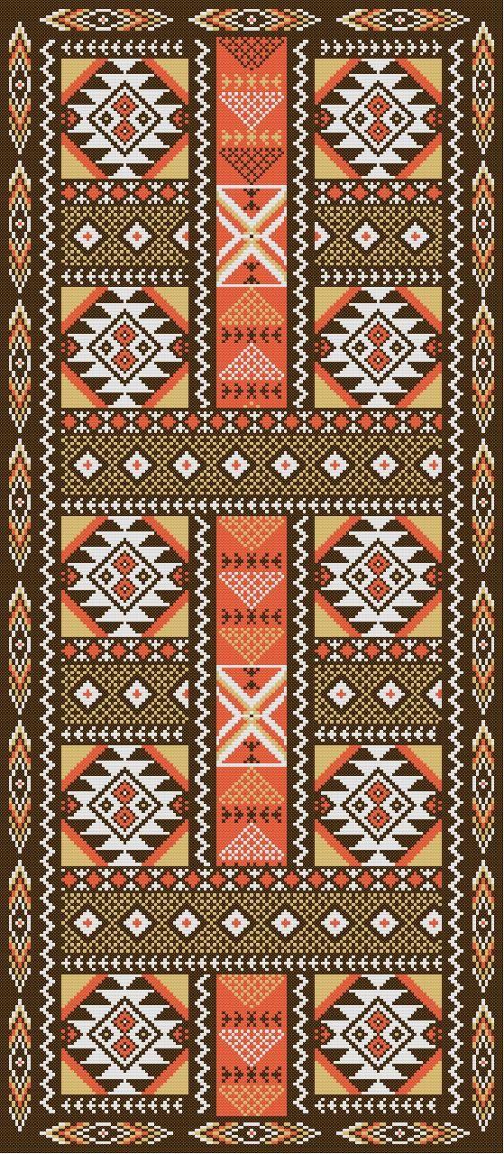 Patron punto cruz foto del bordado virtual alfombra - Alfombras para pasillo ...
