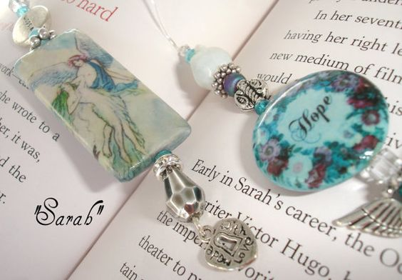 Designer Beaded Bookmark  Sarah by SassyBookBling on Etsy, $19.00