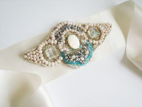 Rhinestone Sash - Bridal Sash - Wedding Sash - Crystal Bridal Sash - Pearl Bridal Sash - Rhinestone Bridal Sash - Crystal Wedding Sash. $99.95, via Etsy.