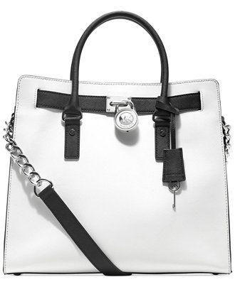 top handle bags: Michael Kors Large Hamilton North South Tote, Optic White/Black ||| ||| ||| Michael Kors Large Hamilton North South Tote, Optic White/Black ...
