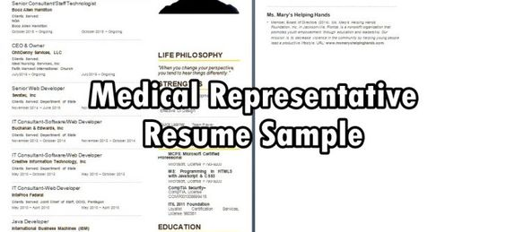 Medical Representative Resume Sample Occupational Cv Examples - medical representative sample resume
