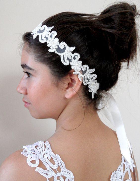 wedding headband, bridal headband, wedding accessory, bridal accessory, headband, lace headband,. $24.00, via Etsy.