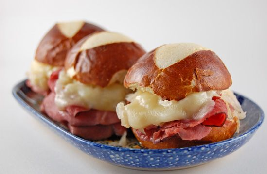 Reuben sliders on a pretzel roll!