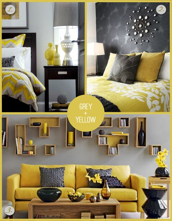 Grey and Yellow  | Home design interior living room