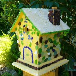 DIY - Birdhouse designed by me, made by hubby.  Decorated by me with found seaglass.