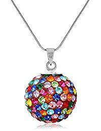 Fashionvictime , Pendentif Femme , \u0026quot;Sphère\u0026quot; , Argent Plaqué Rhodium , Crystals From Swarovski