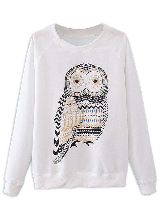 White Rhinestone Owl Sweatshirt | Choies