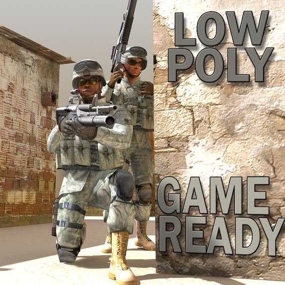 2 soldiers military 3d model