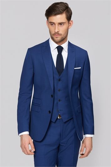 Moss 1851 Tailored Fit Bright Blue Suit