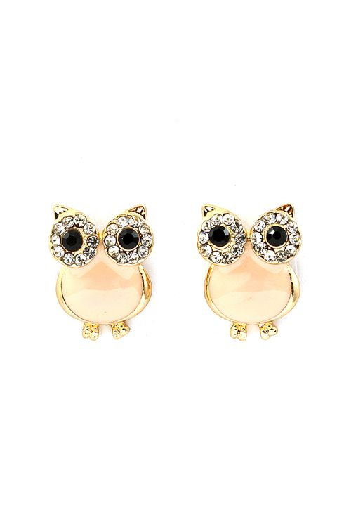 Peachy Crystal Owl Earrings | Emma Stine Jewelry Earrings