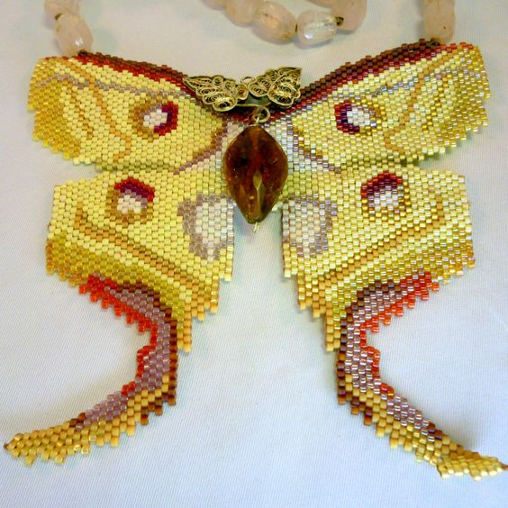 Indian Moon Moth - Beaded Butterfly Necklace by gypsyeyesjewelry on Etsy