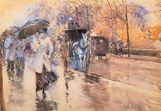 """More umbrellas!  This is """"Rainy Day of Fifth Avenue"""" (1893) by Childe Hassam."""