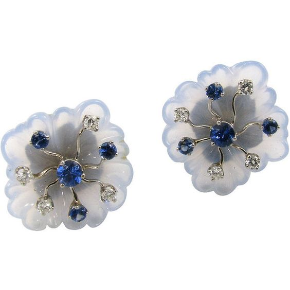 1STDIBS.COM Jewelry & Watches - Seaman Schepps - SEAMAN SCHEPPS Blue... ❤ liked on Polyvore featuring jewelry, earrings, flowers, formal earrings, silver, chalcedony earrings, blue chalcedony jewelry, sapphire earrings, flower jewellery and blue sapphire earrings