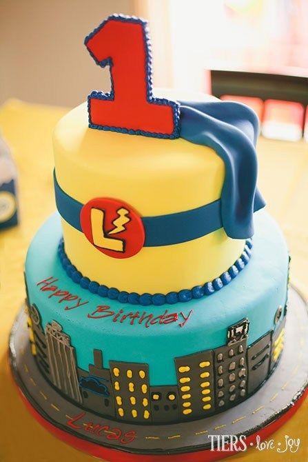 Superhero 1st Birthday Cake by Beverly's Bakery
