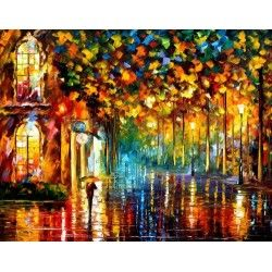 """2 paintings WALK IN THE RAIN -  PALETTE KNIFE Oil Painting On Canvas By Leonid Afremov -  Size 30"""" x 40"""""""